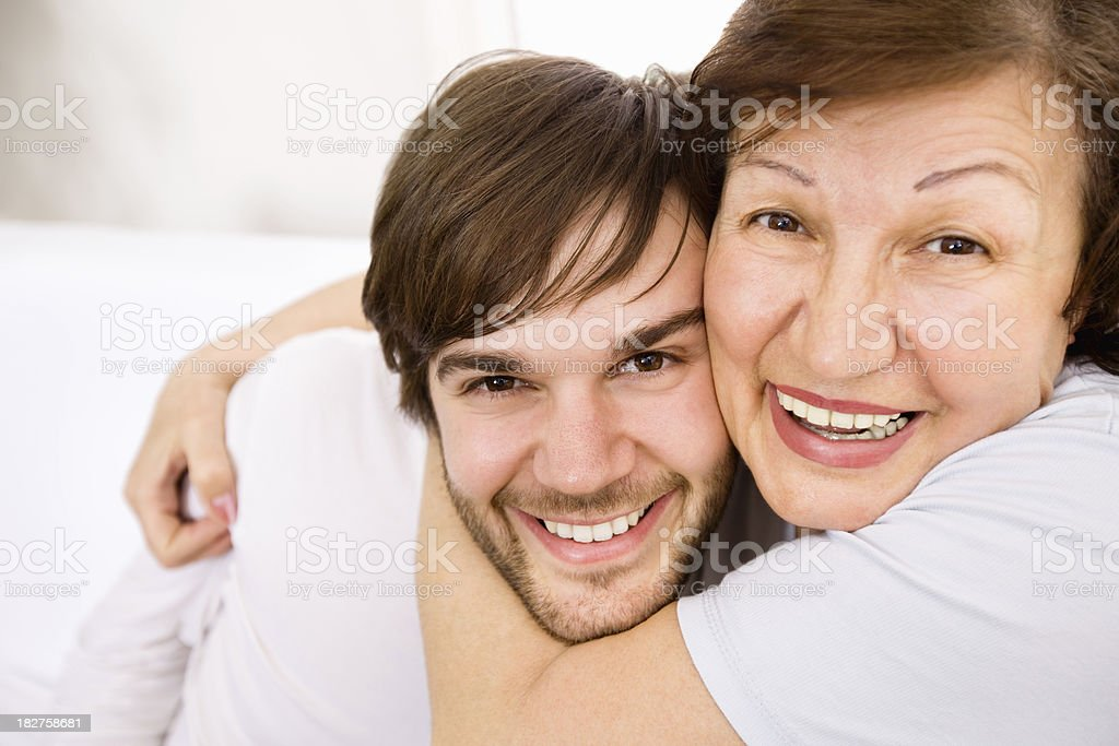 Mother embracing Son - Copy Space royalty-free stock photo