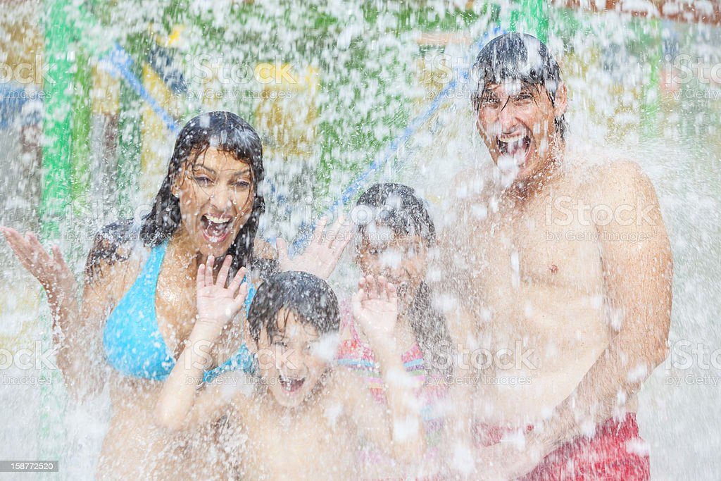 Mother Father Son Daughter Child Family Water Park royalty-free stock photo