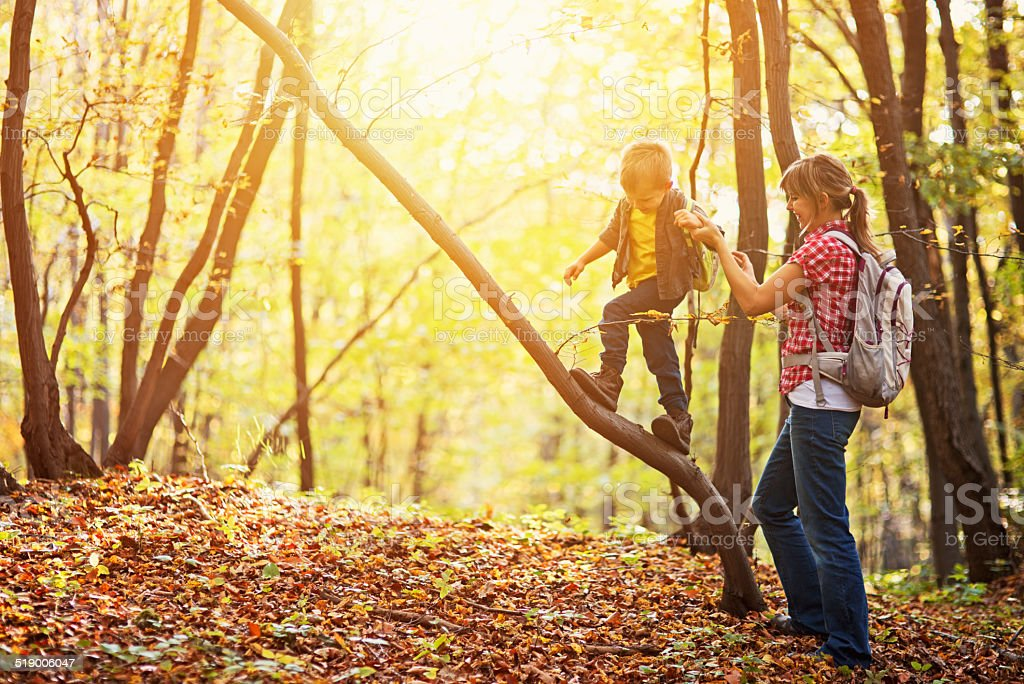 Mother having fun with son in autumn forest. stock photo
