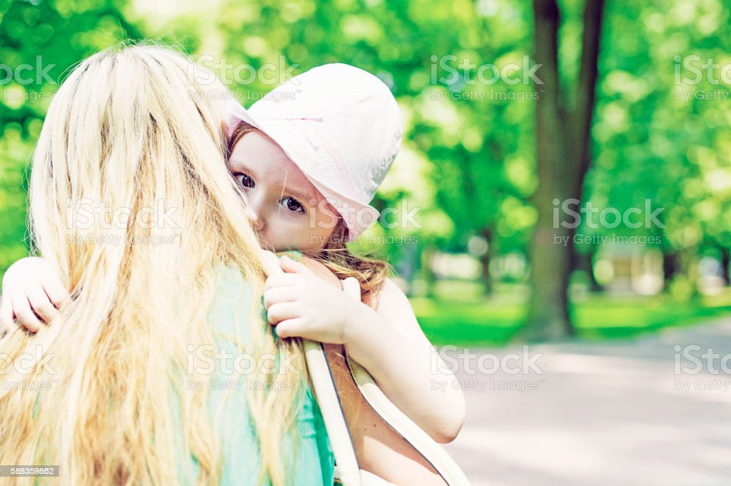 Mother Helping her Daughter to Calm Down stock photo