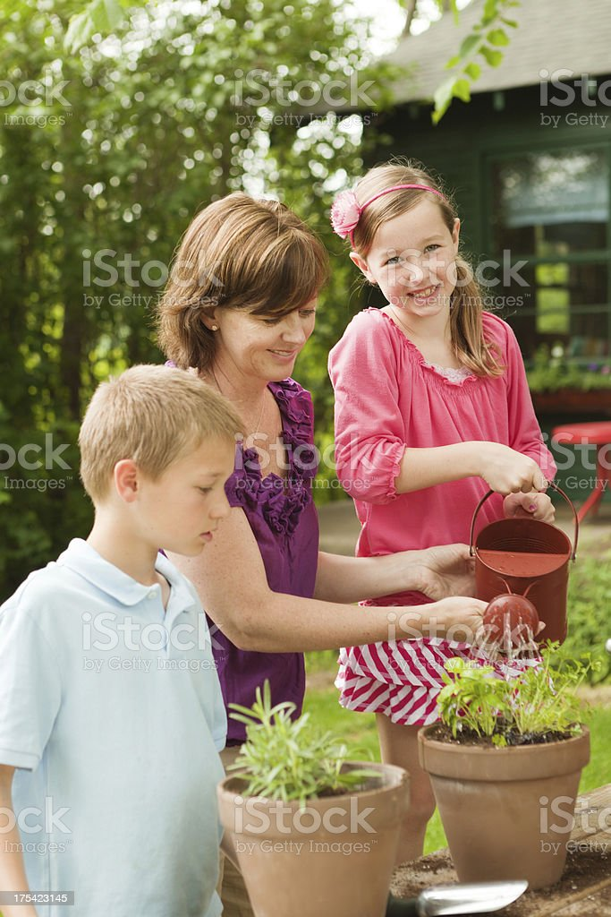 Mother Helping Kids Planting Flowers and Gardening Vt stock photo