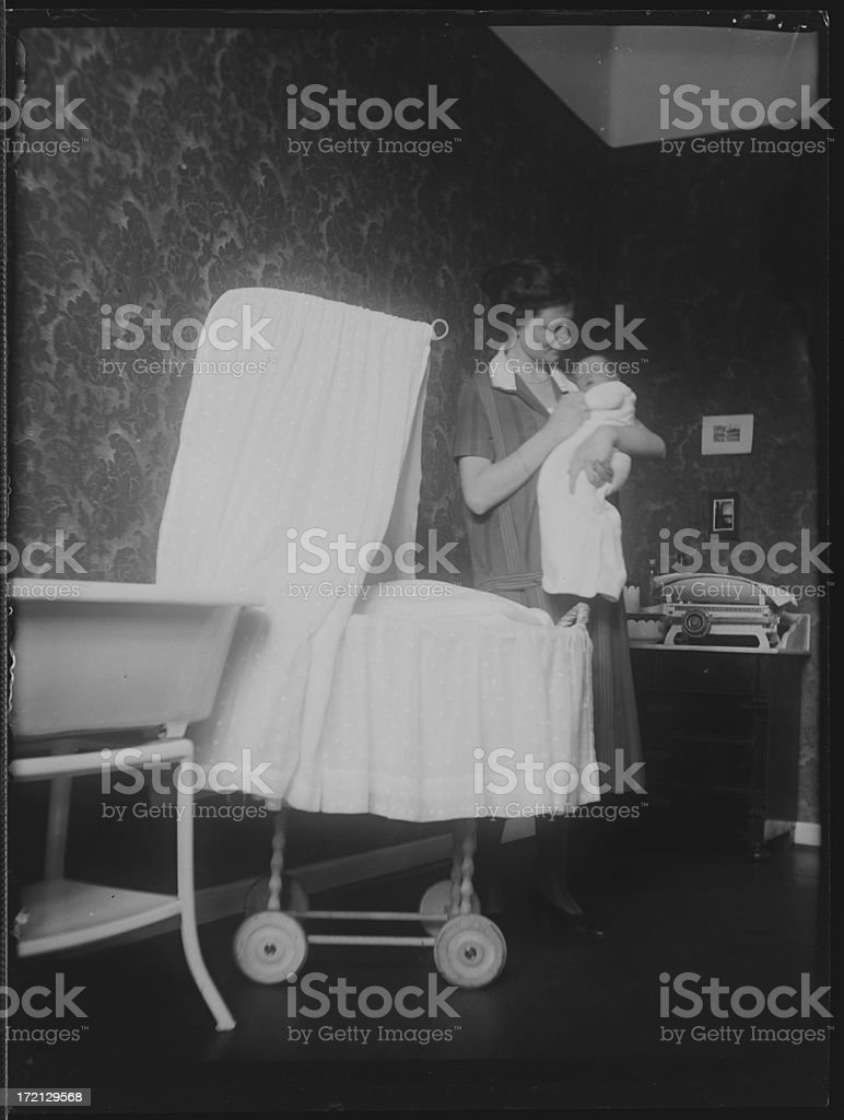 Mother holding baby (vintage) royalty-free stock photo