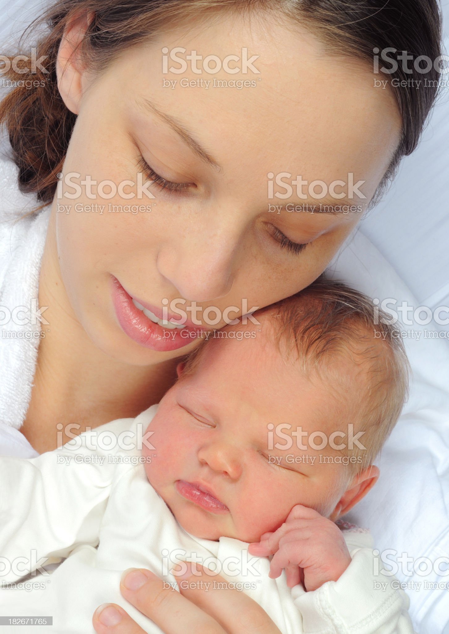 A mother holding her newborn child royalty-free stock photo