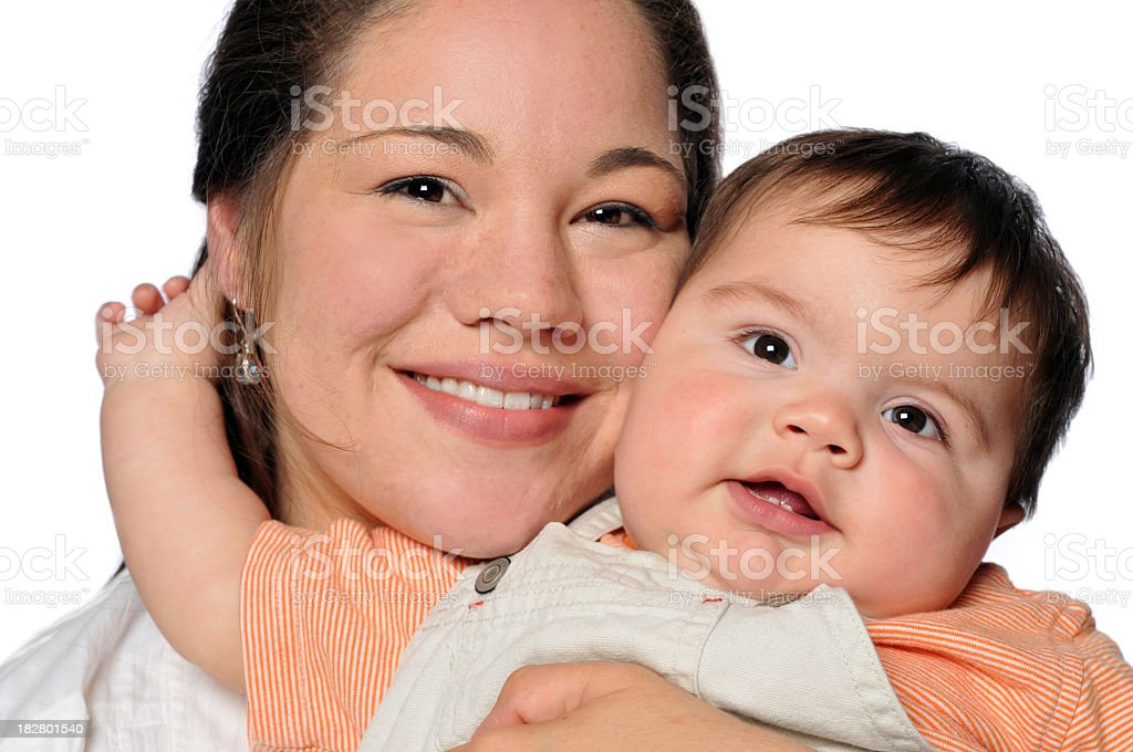 Mother Holding Her Son Close stock photo