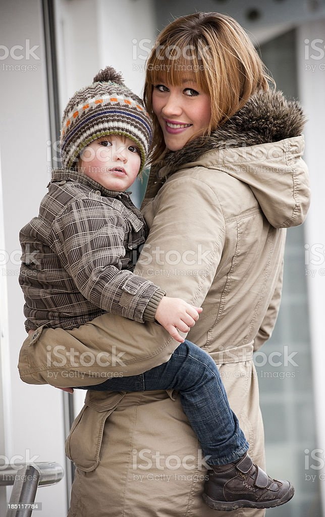 Mother holding son royalty-free stock photo