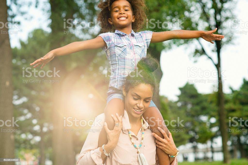 Mother is her hero. stock photo