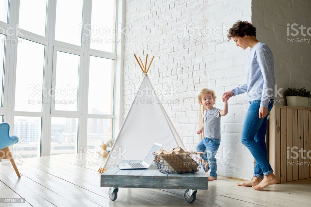Mother, look at my shelter! stock photo