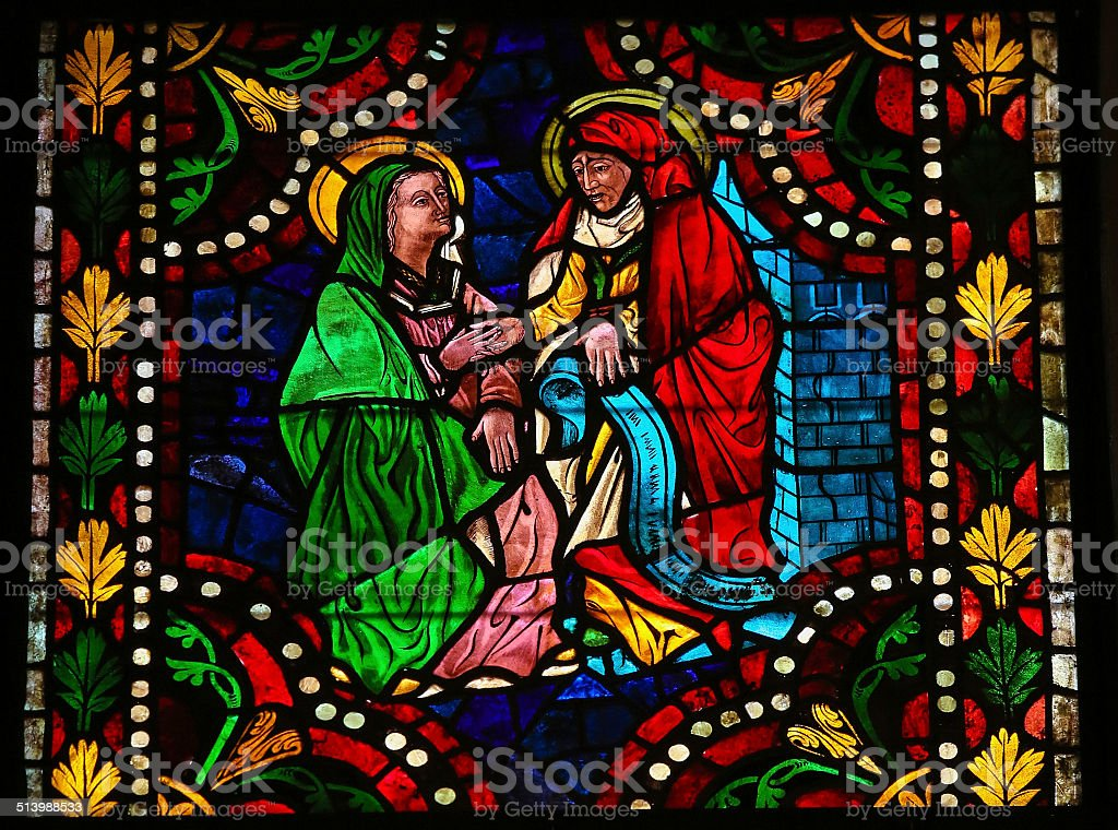 Mother Mary and Elizabeth stock photo
