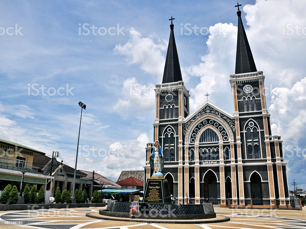 Mother mary statue and church at Chanthaburi, Thailand royalty-free stock photo