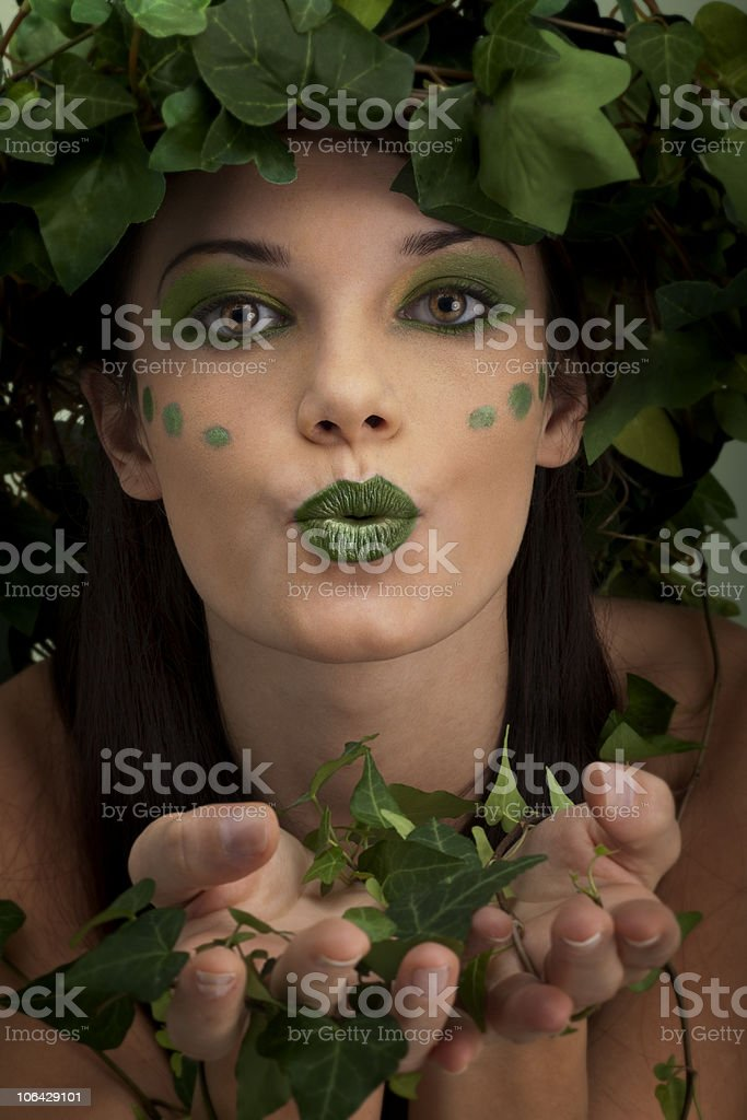 Mother Nature Sending Kiss royalty-free stock photo