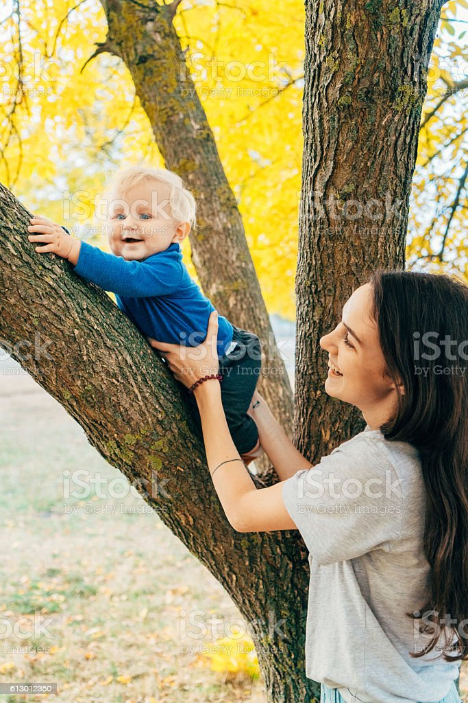 Mother playing with child stock photo