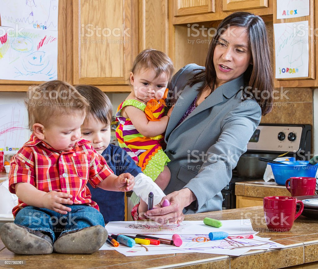 Mother Plays With Children stock photo