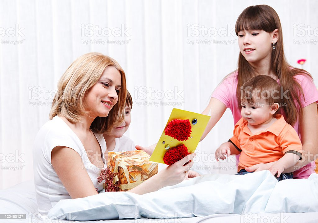 Mother reading greeting card royalty-free stock photo
