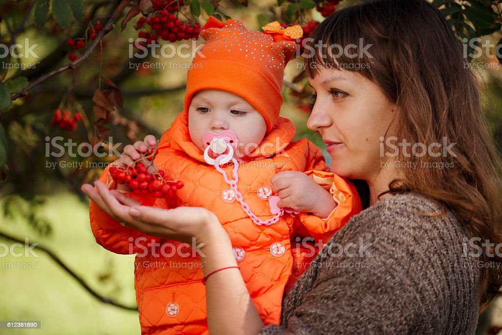 mother showing daughter rowan stock photo