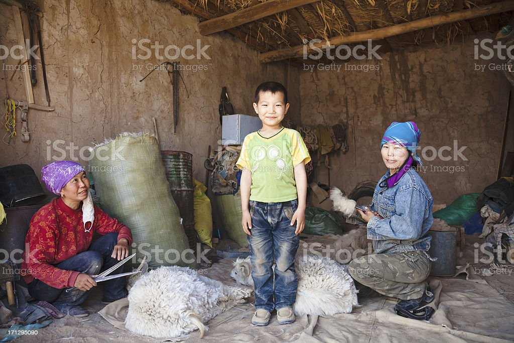 mother, son, and her elder sister royalty-free stock photo