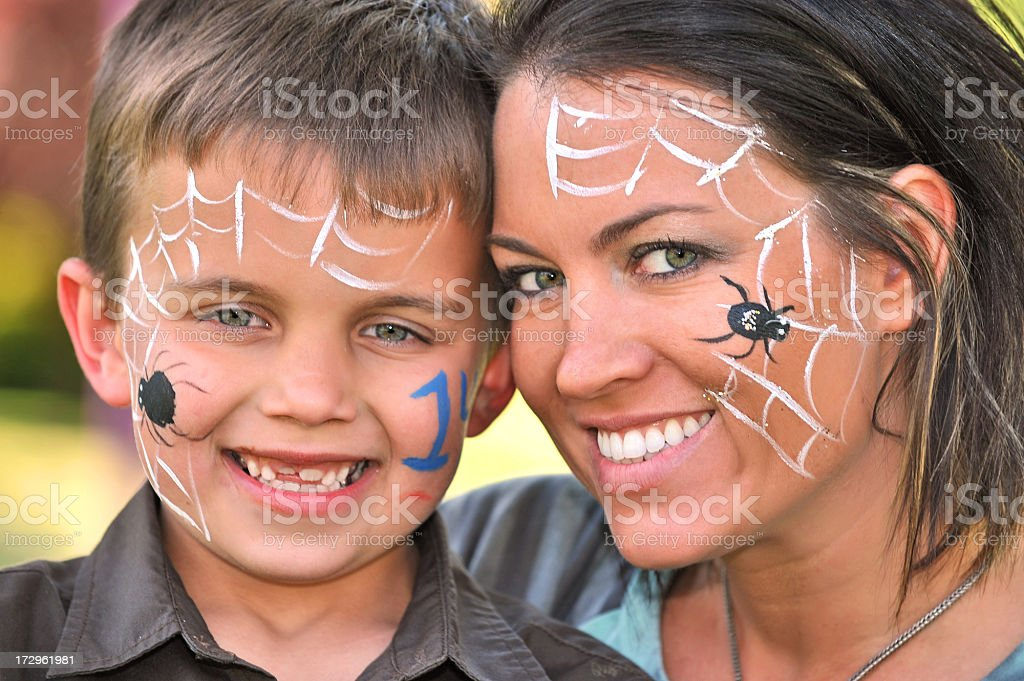 Mother & Son Facepainters stock photo
