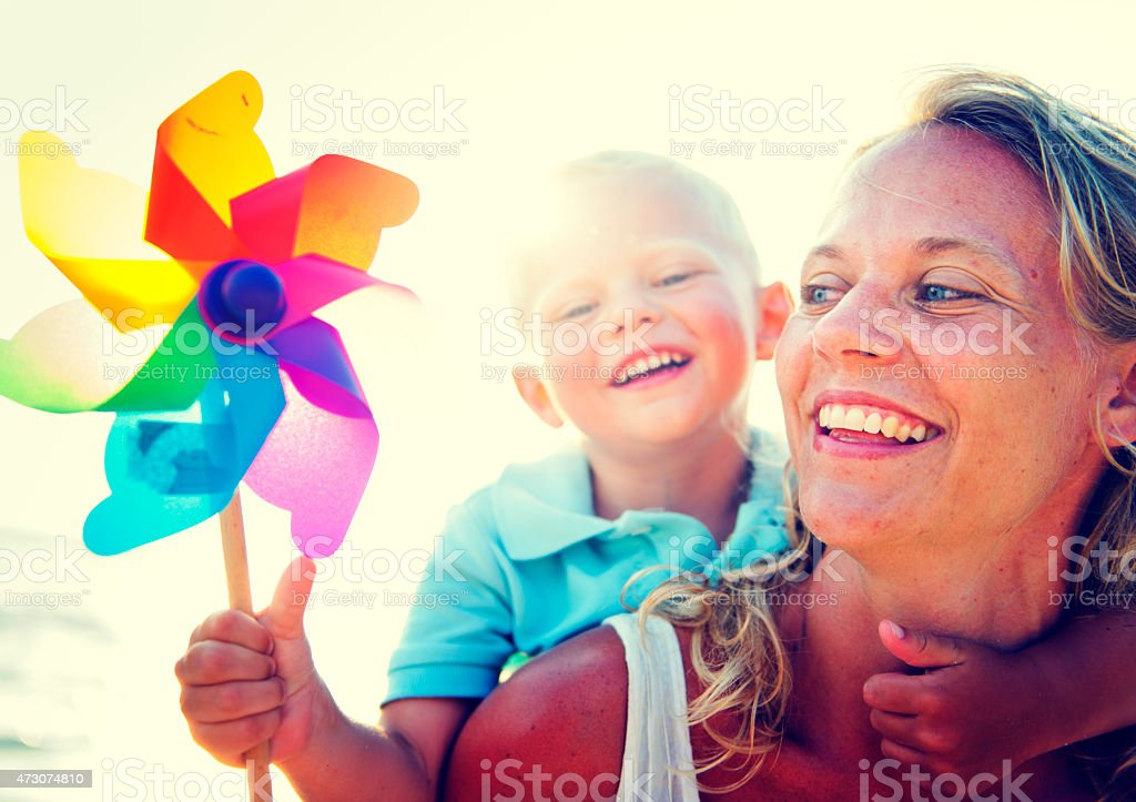Mother Son Fun Relaxation Family Bonding Concept stock photo