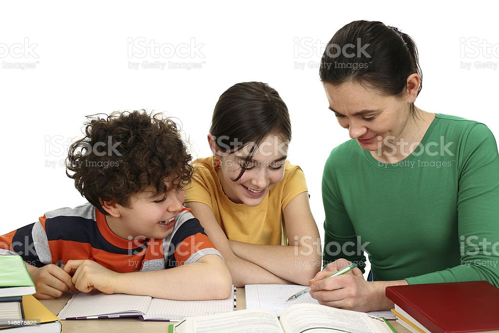 Mother teaching her children on white background royalty-free stock photo
