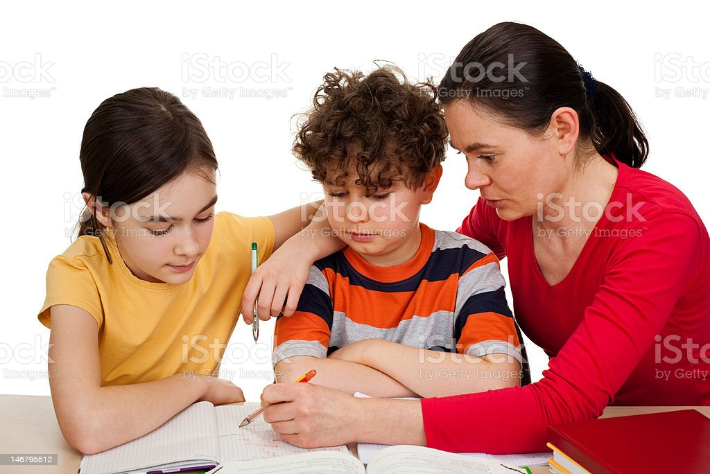 Mother teaching kids isolated on white royalty-free stock photo