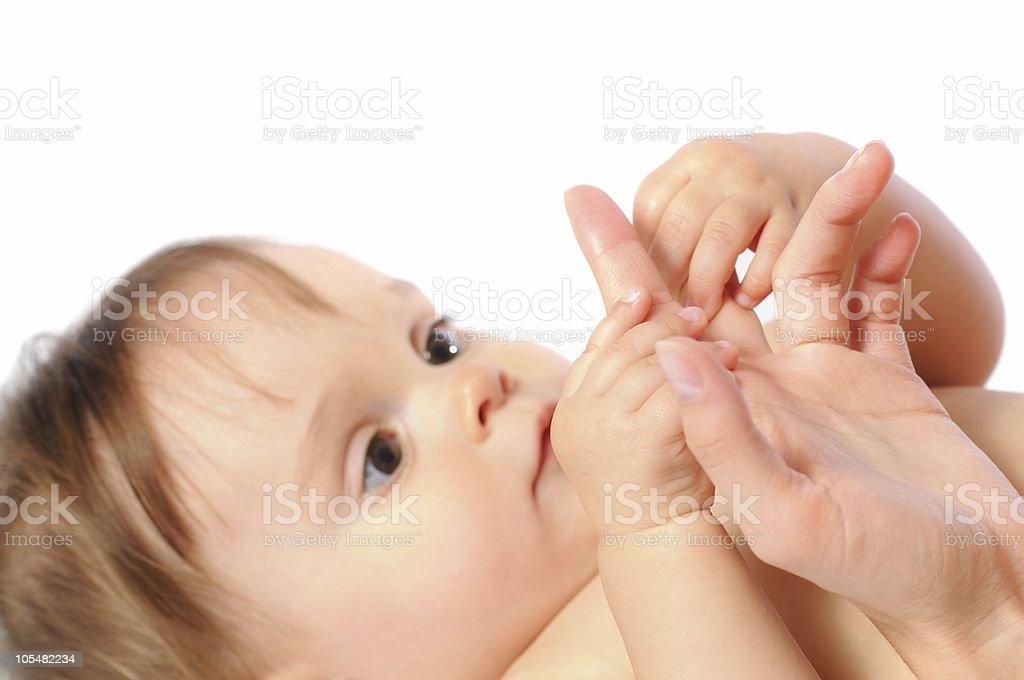 Mother touch royalty-free stock photo