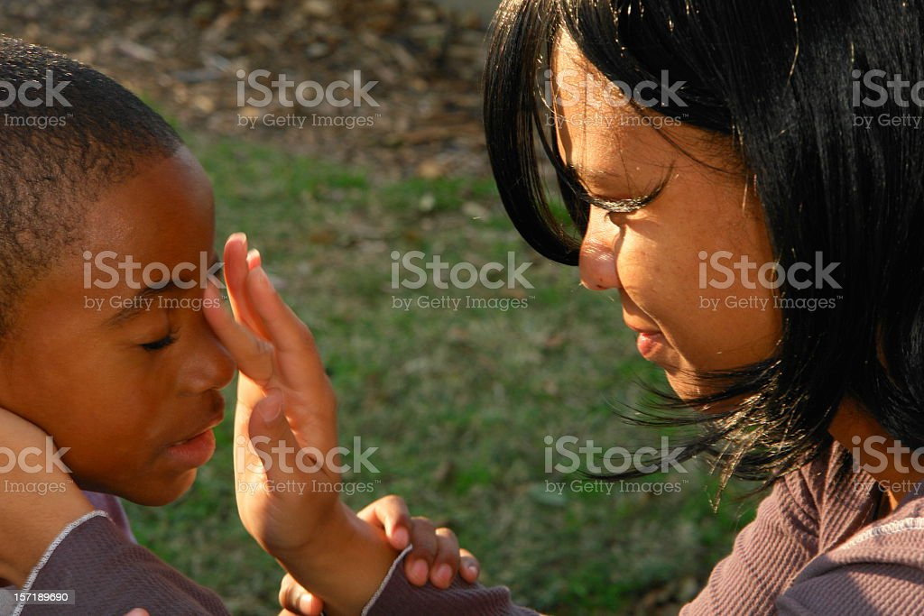 Mother Wipes Tear stock photo