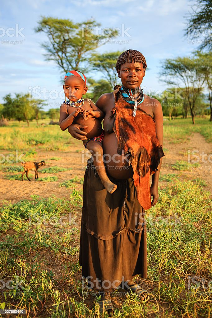 Mother with baby from Samai, Ethiopia, East Africa stock photo