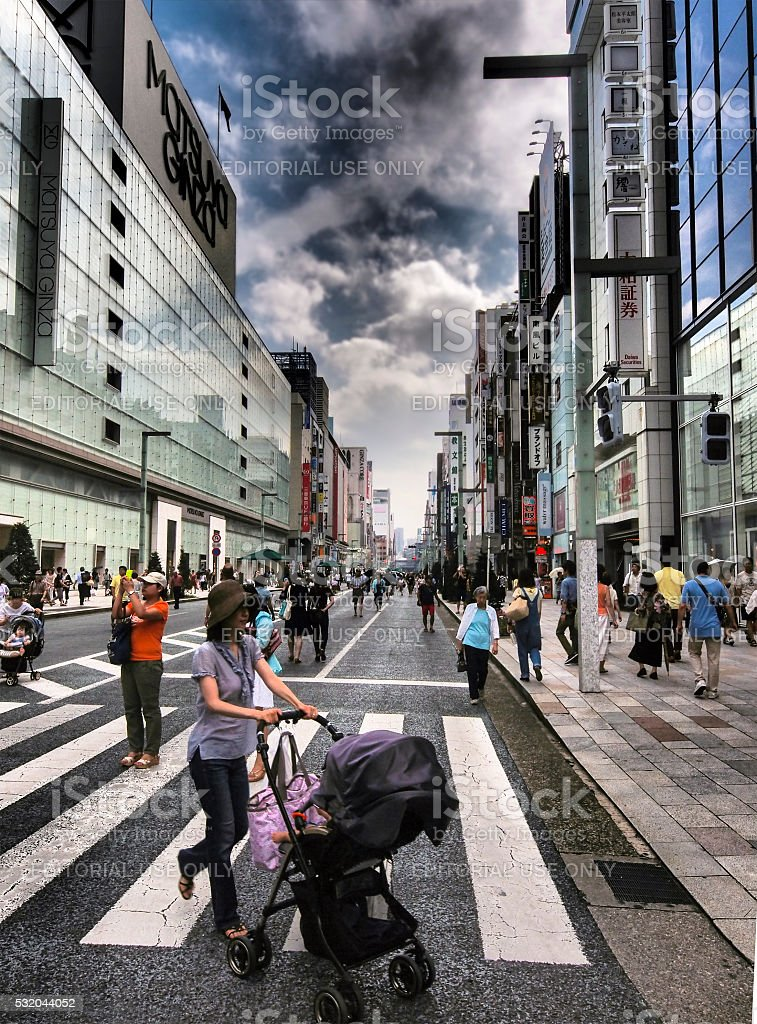 Mother with baby on Ginza in Tokyo stock photo