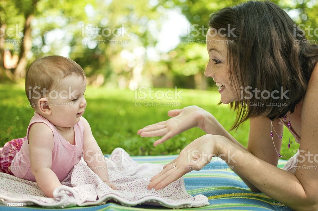 Mother with baby outdoor royalty-free stock photo