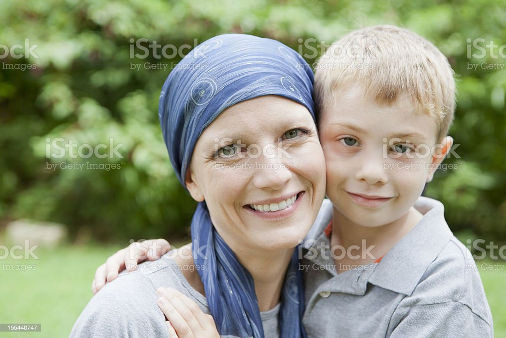 Mother with Cancer and Her Son stock photo
