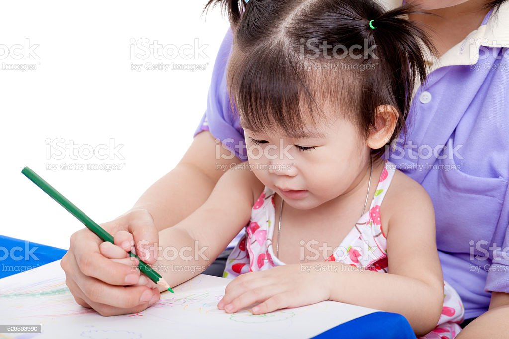 Mother with child girl draw and paint together stock photo