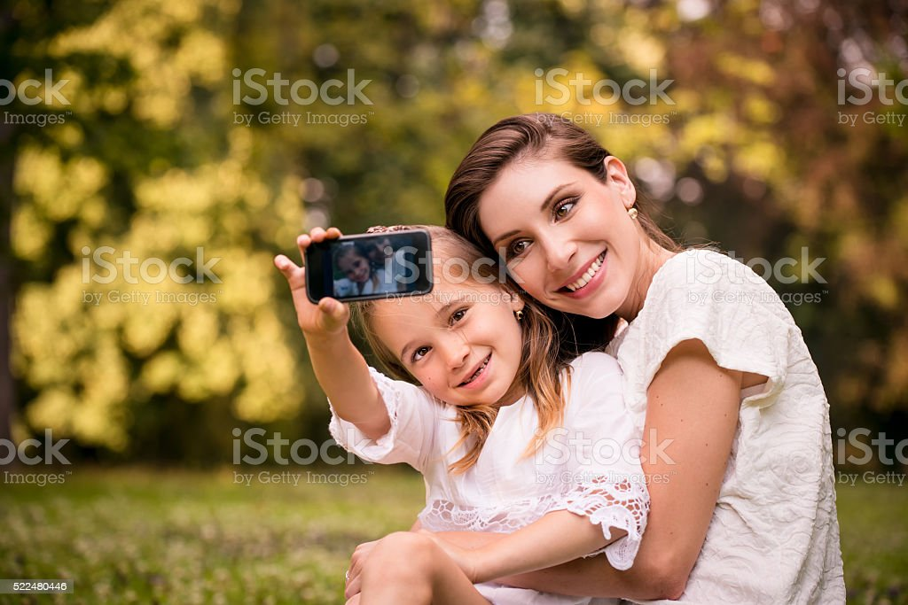Mother with child selfie stock photo