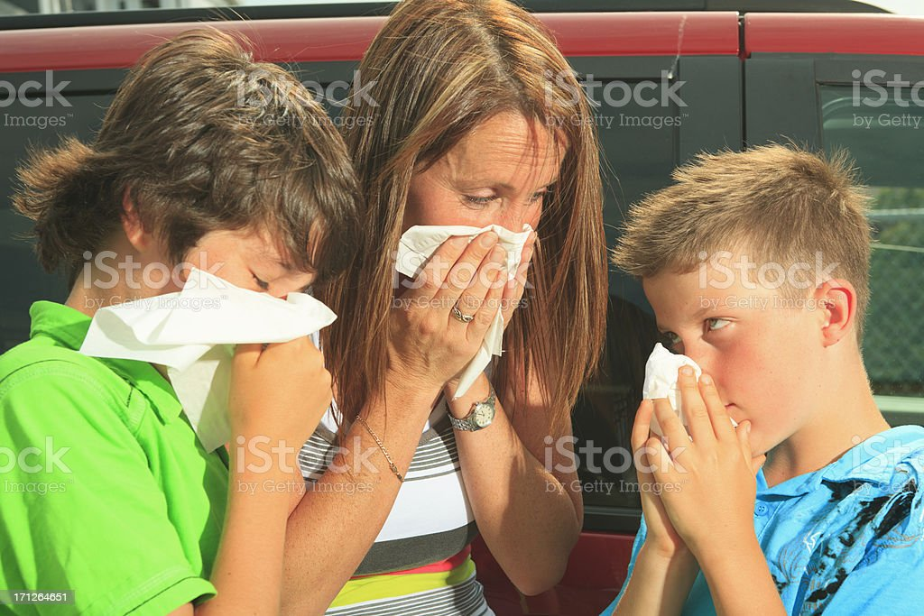 Mother with Children - Alergy royalty-free stock photo