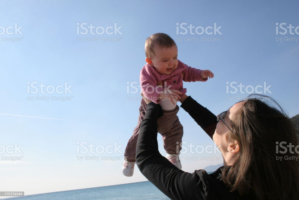 mother with daughter in the sky royalty-free stock photo