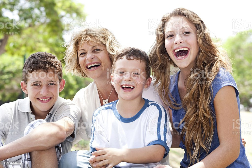 Mother with grown up daughter and son royalty-free stock photo