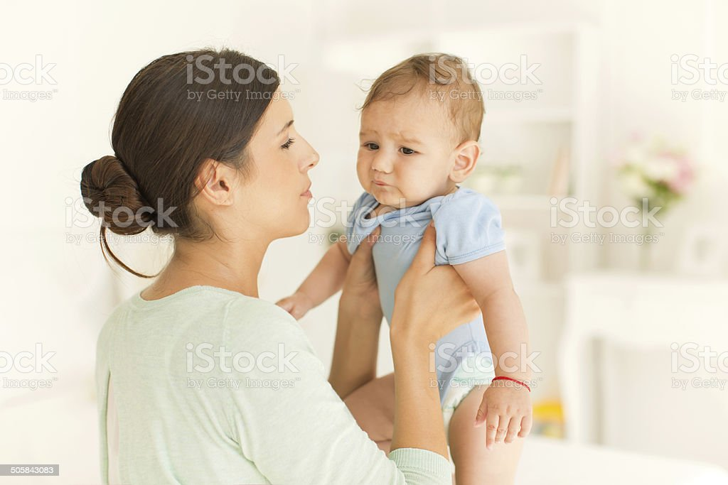Mother with her baby boy. stock photo