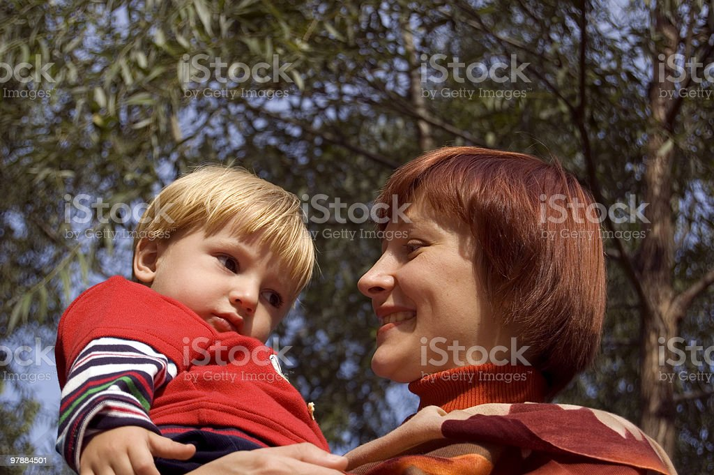 Mother with her son. stock photo