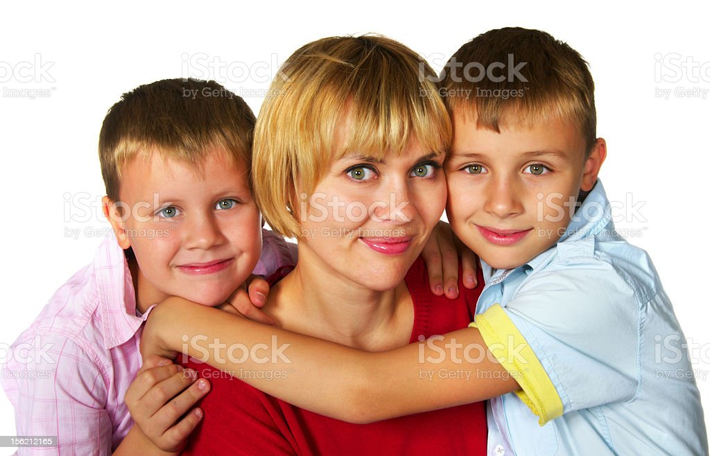 mother with her sons royalty-free stock photo