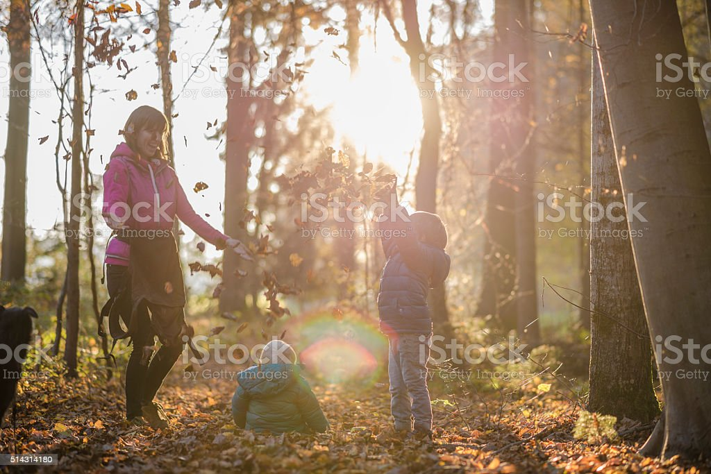 Mother with her two kids having fun in autumn forest stock photo