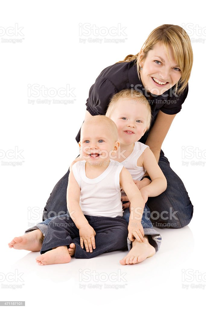 Mother with her two sons royalty-free stock photo