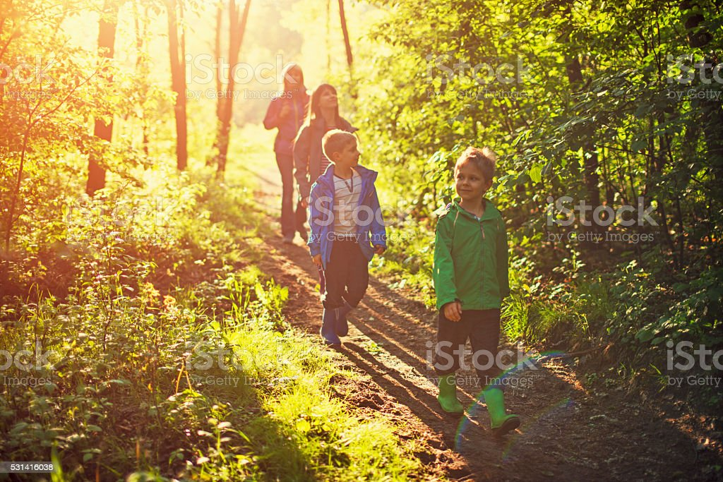 Mother with kids hiking in forest. stock photo