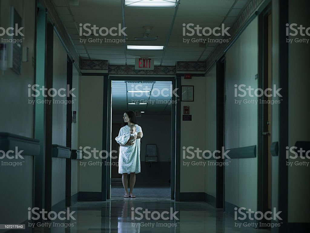 Mother with nerwborn baby in hospital royalty-free stock photo