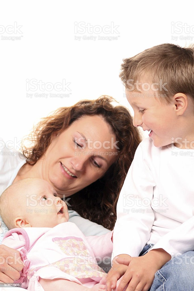 Mother with son and daughter royalty-free stock photo
