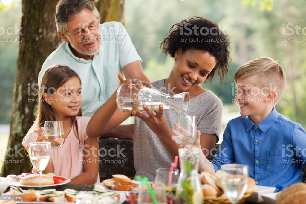 Mother with two kids at outdoor picnic stock photo