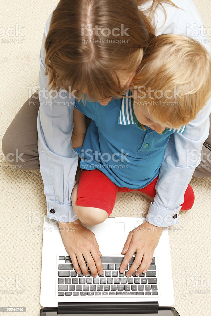 Mother working from home royalty-free stock photo