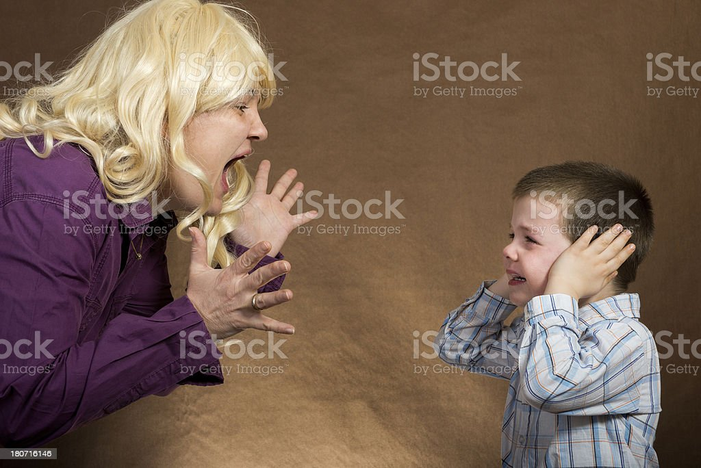 Mother yelling at son royalty-free stock photo