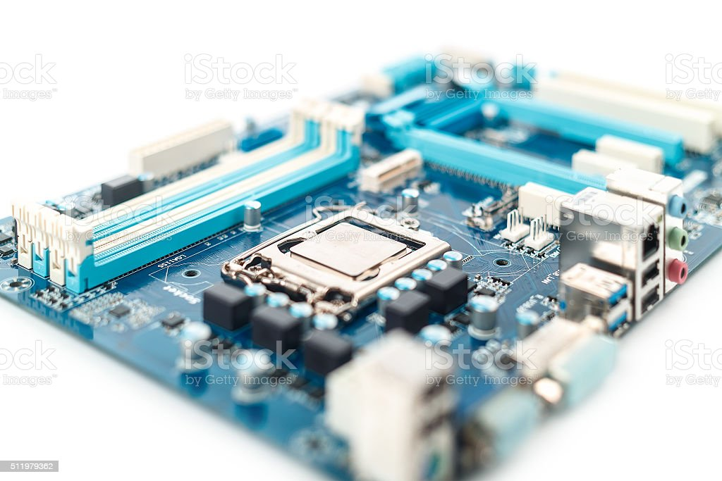Motherboard close up stock photo
