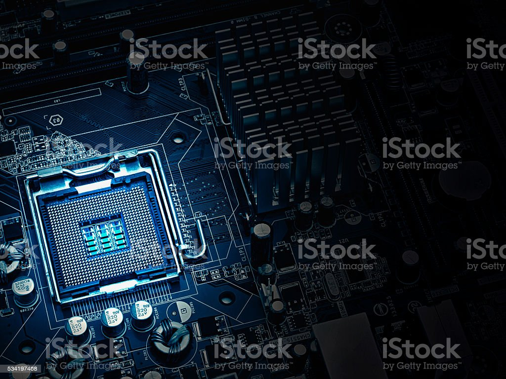 PC motherboard closeup, blue tone stock photo