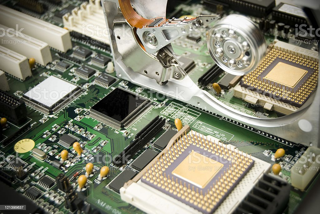Motherboard close-up stock photo