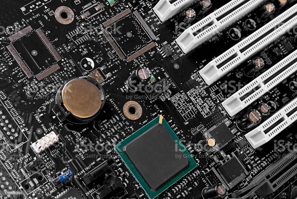 motherboard closeup stock photo