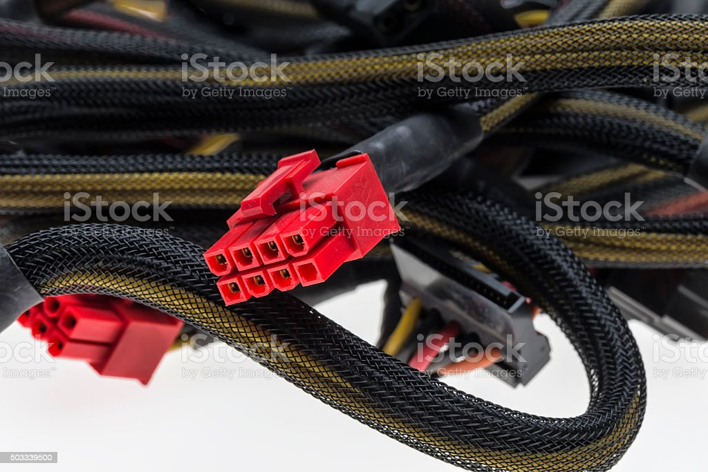 Motherboard connection cable stock photo